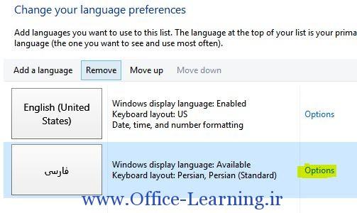 option در زبان فارسی