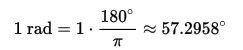 فرمول تبدیل یک زاویه از درجه به رادیان