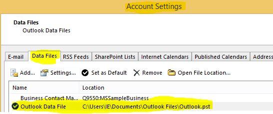 انتخاب pst برای گذاشتن پسورد بر روی Outlook