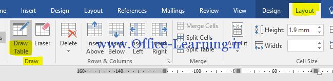 غیر فعال کردن قلم در رسم جدول وردword