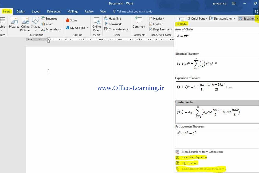 فرمول نویسی در ورد