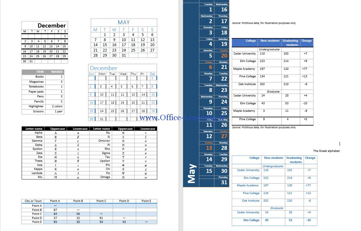 نمونه جدول های آماده برای ورد