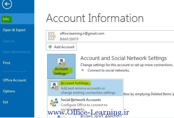account settings outlook