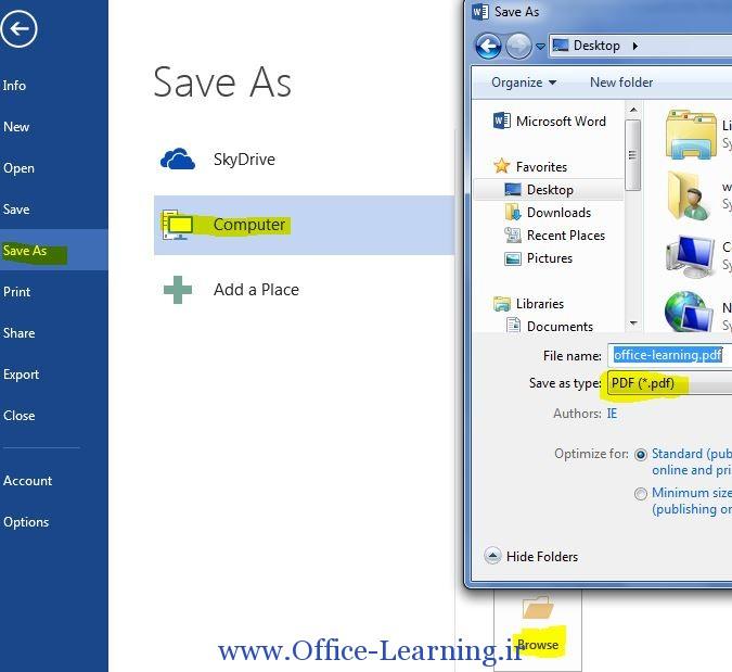 تبدیل فایل های word 2013 به PDF
