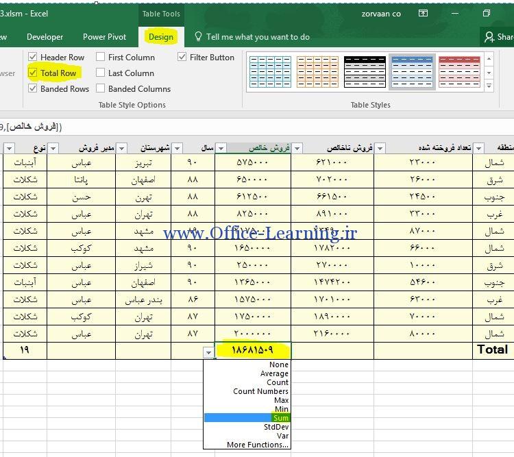 محاسبات خودکار در انتهای ستون ها Total row