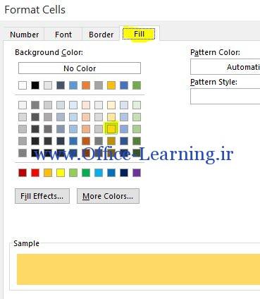 رنگی کردن سلول در Conditional Formatting
