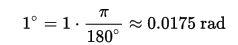 فرمول تبدیل یک زاویه از رادیان به درجه
