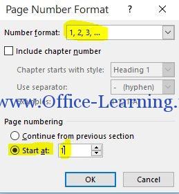 ایجاد شماره صفحه از صفحه دلخواه در ورد.JPG start at
