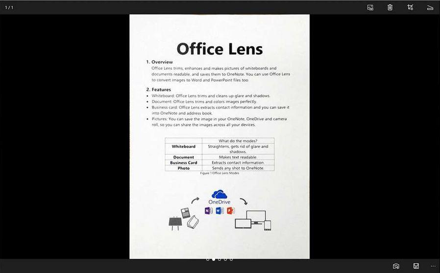 کاربرد برنامه Office Lens