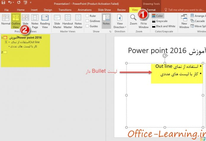 Outline view powerpoint